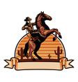 cowboy ride a horse vector image vector image