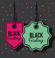 black friday promotional labelsmagenta and green vector image