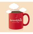 coffee cup with text breakfast vector image