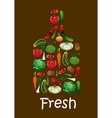 Fresh vegetables in shape of cutting board vector image