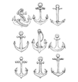 Vintage marine anchors with ropes sketch symbols vector image