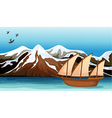 A boat floating near the mountain area vector image vector image