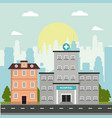 hospital and house building story facade vector image