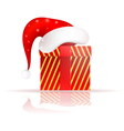 Santa Claus hat on the present vector image