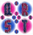 Volume letters QRST with shiny rhinestones vector image