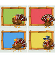 Frame designs with turkeys vector image