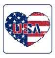 American flag heart grunge vector image