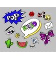 Fashion modern doodle cartoon patch badges or vector image