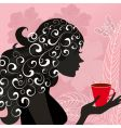 girl with the flower tea vector image