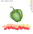 Green Bell Peppers with Vitamin C B6 and K vector image