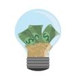 lightbulb light bulb money bills vector image