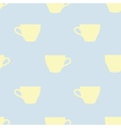 Seamless pattern of tea cups on a blue background vector image