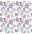 Seamless pattern with flowers leaves branches vector image
