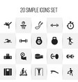 set of 20 editable sport icons includes symbols vector image