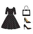 woman black outfit set vector image