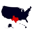 Texas State in the United States map vector image