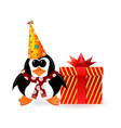 Cheerful penguin with a gift on New Year vector image