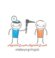 otolaryngologist examines the patients ear vector image vector image