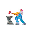 Blacksmith Worker Striking Hammer Anvil Low vector image