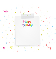 Happy birthday greetings on note paper vector image
