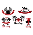 Auto racing sporting symbols with race cars vector image