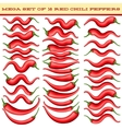 Mega set of 38 Red chili peppers EPS 10 vector image