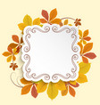 autumn label square frame with yellow leaves vector image