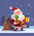 cartoon santa claus with gifts in hands vector image