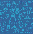 christmas symbols seamless pattern simple vector image