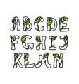 leaves font part 1 vector image