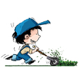 Smiling Boy lawn cutter vector image