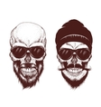 Two modern skull with sunglasses vector image vector image