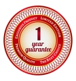 Label on 1 year guarantee vector image vector image