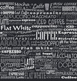 coffee words seamless background vector image