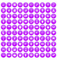 100 farm icons set purple vector image
