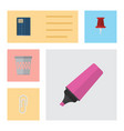 flat icon stationery set of fastener page vector image