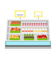shelves with products in grocery store vector image vector image