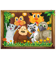 A wooden frame with animals vector image vector image