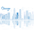 Outline Chicago skyline with blue buildings vector image