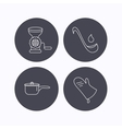 Soup ladle potholder and kitchen utensils icon vector image