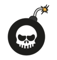 Isolated skull inside bomb design vector image