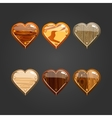 Set with wooden heart vector image