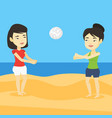 two women playing beach volleyball vector image