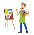 Cute male artist painting on canvas standing vector image