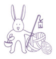 easter rabbit holds a basket and a vector image