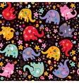 elephants birds flowers pattern vector image