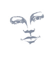 Facial expression hand-drawn of face of a girl wit vector image
