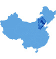Map of Peoples Republic of China - Hebei province vector image