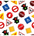 Road signs seamless pattern vector image