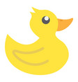 rubber duck flat icon baby toy and shower vector image